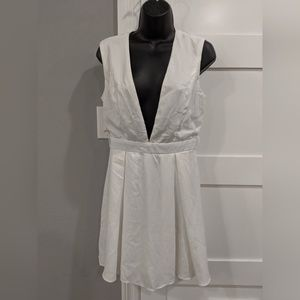 NWT White Deep-V Dress